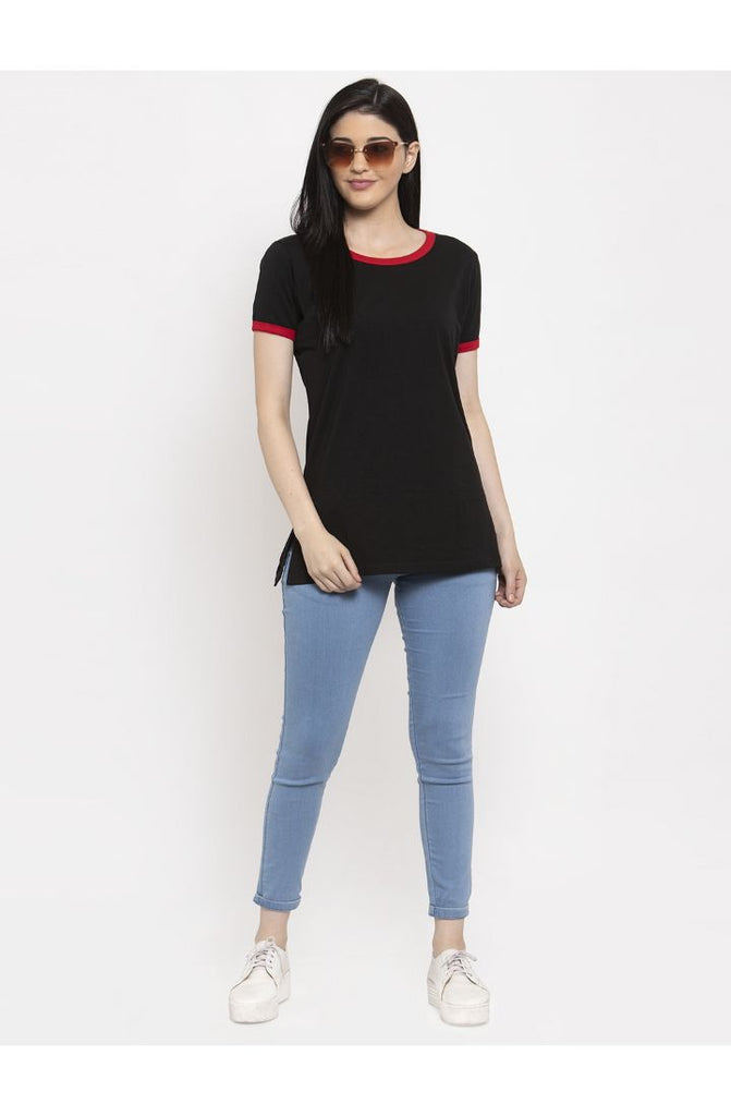Black Round Neck Long Tees