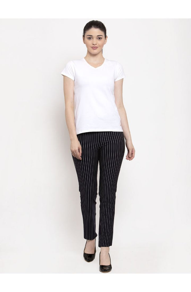 Order Navy Stripped Straight Fit Trouser Pant Online