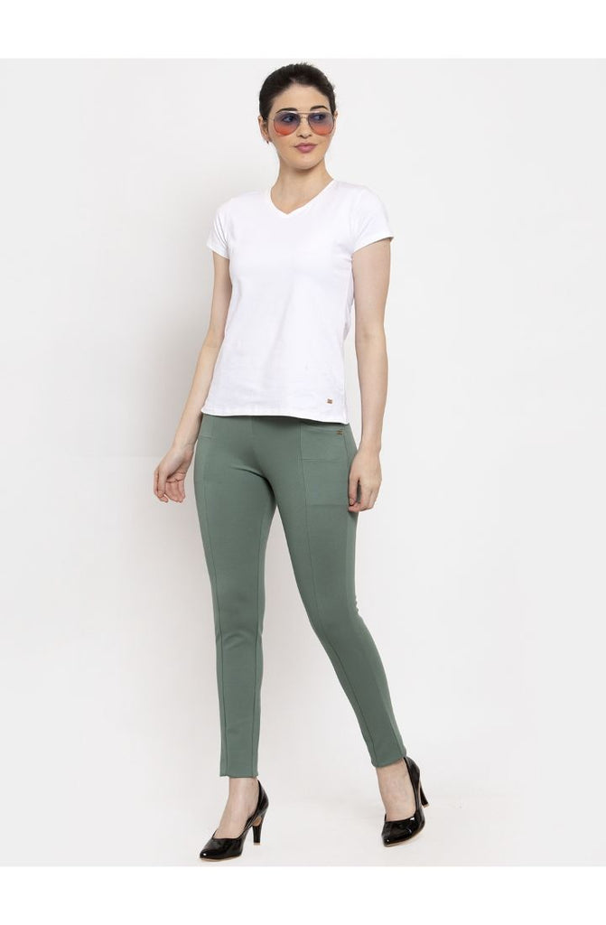 Narrow Fit Central Stitch Trouser Pant (SP01) - Green