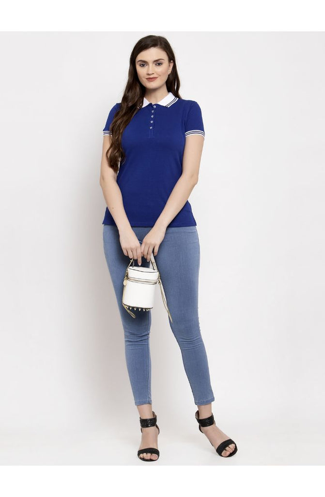 Buy Royal Blue Polo Neck Tees at Prag