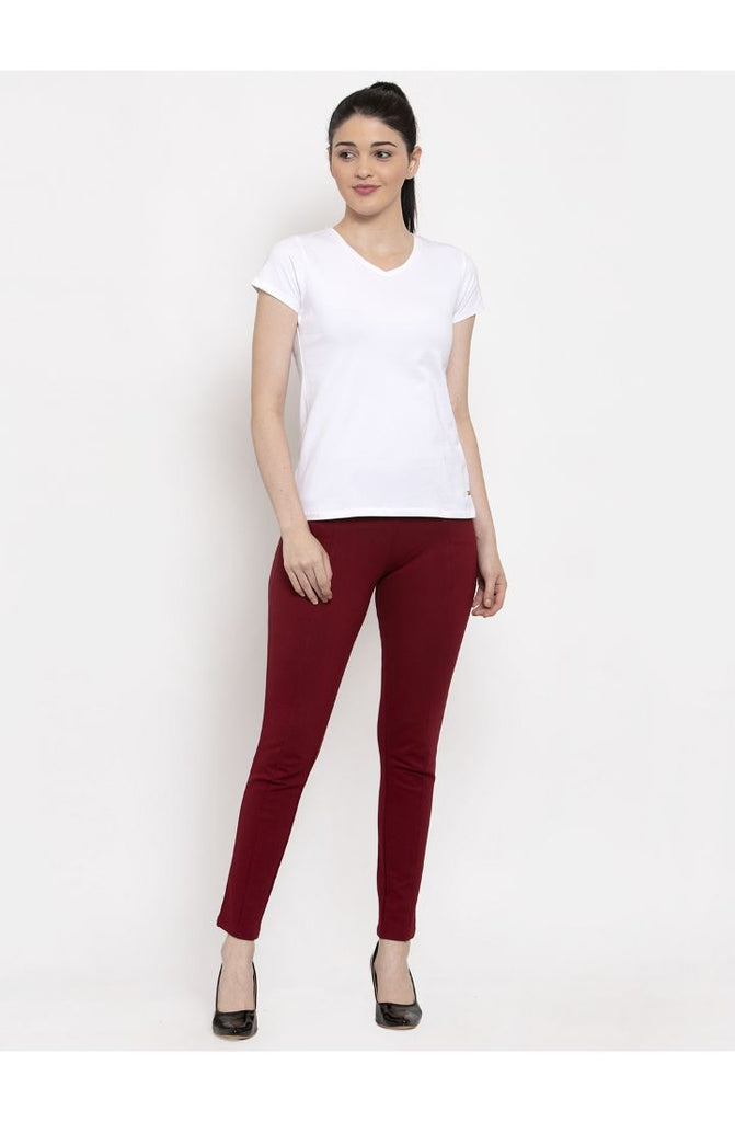 Maroon cigarette pants women