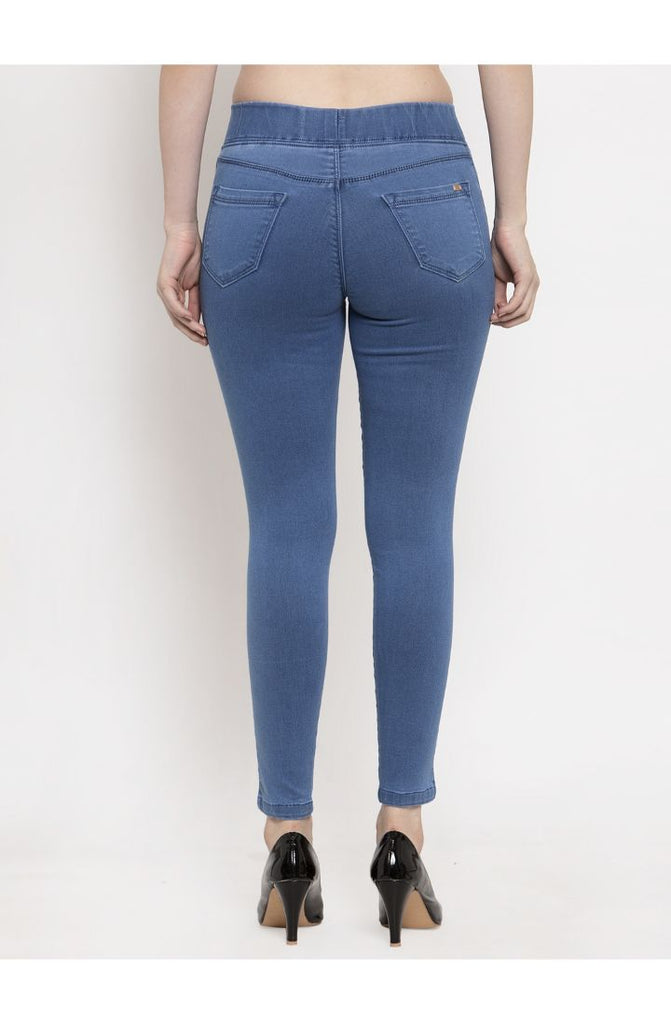 Stretchable Skinny Fit Denim Jeggings - Stone