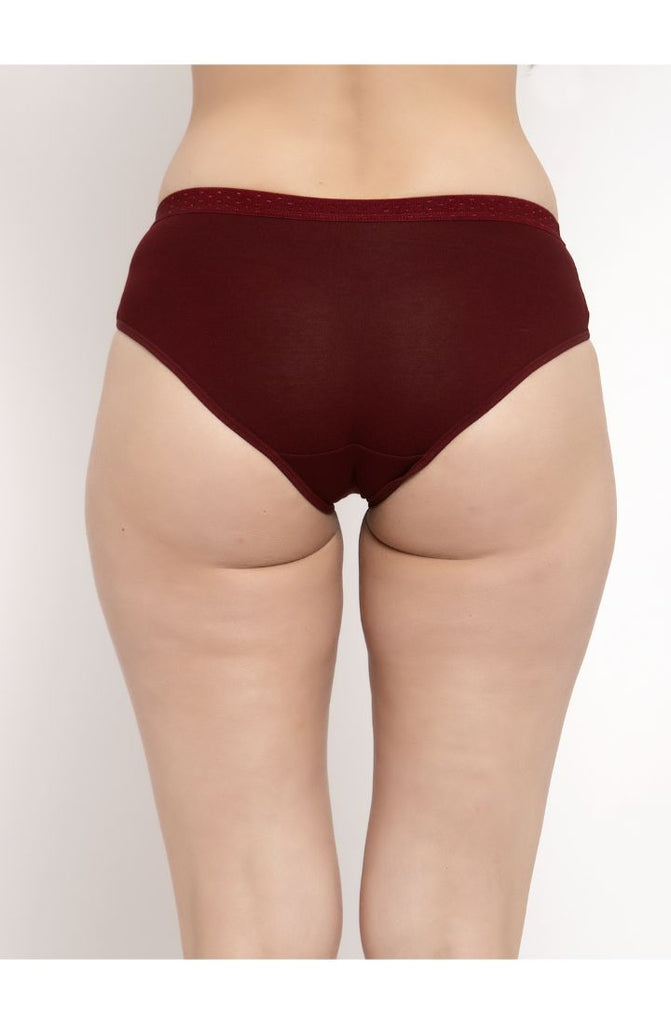 Maroon Hipster Brief 3 PC Pack Solid Colors