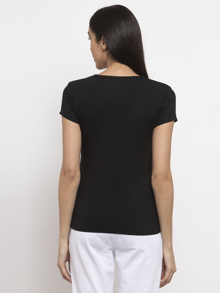Round Neck Double Layered T-Shirt - Black