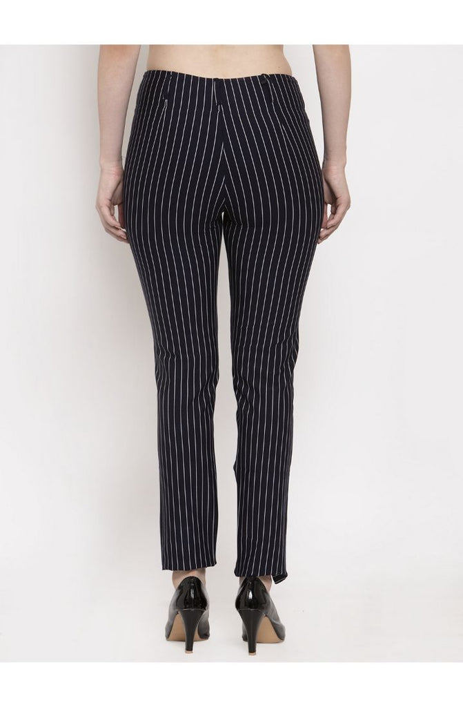 Buy Navy Stripped Straight Fit Trouser Pant
