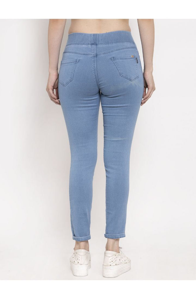 Stretchable Skinny Fit Denim Jeggings - Ice