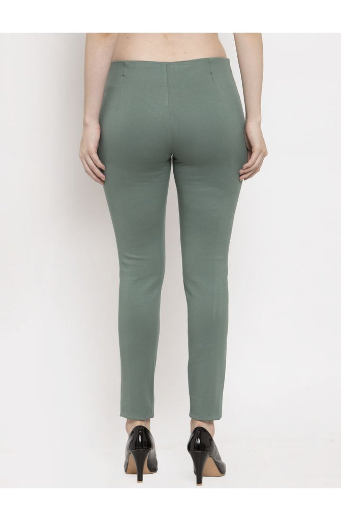 Narrow Fit Central Stitch Trouser Pant Green