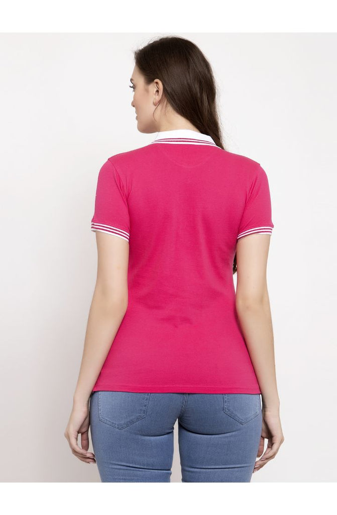 Buy Women Pink Polo Neck Tees Online