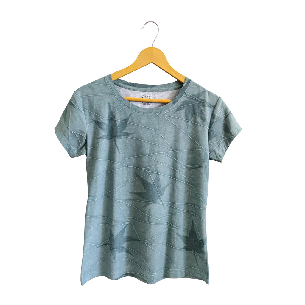 Organic Round Neck All Over Print Cotton T-Shirt With Slub Green Color