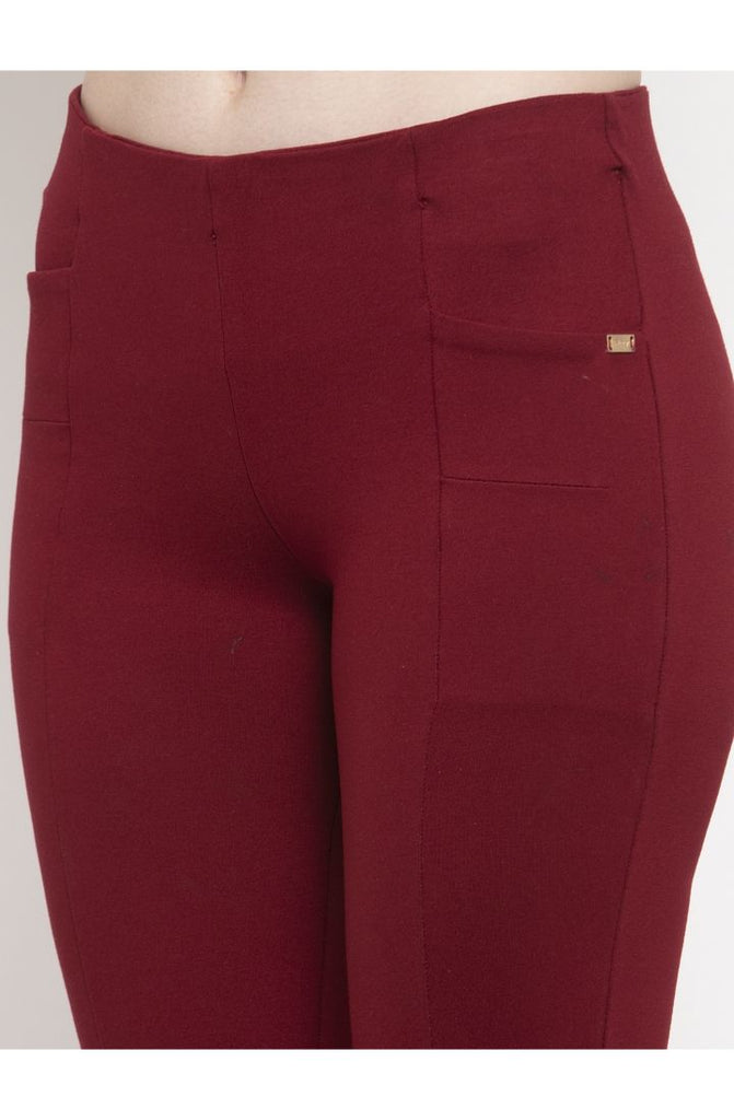 Maroon cigarette pants for ladies