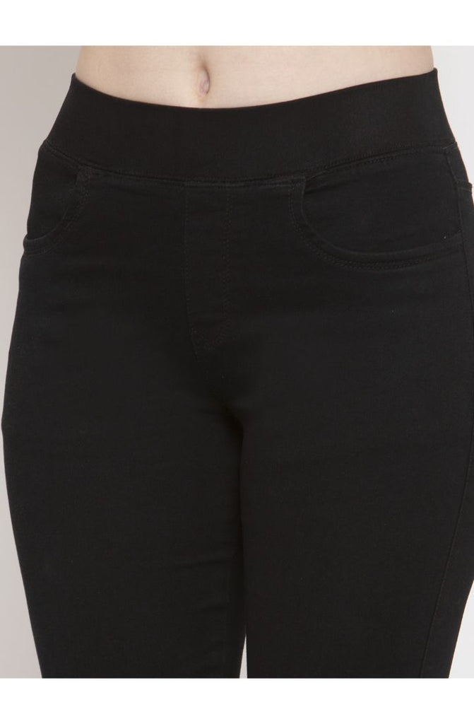 Black denim jeggings for ladies