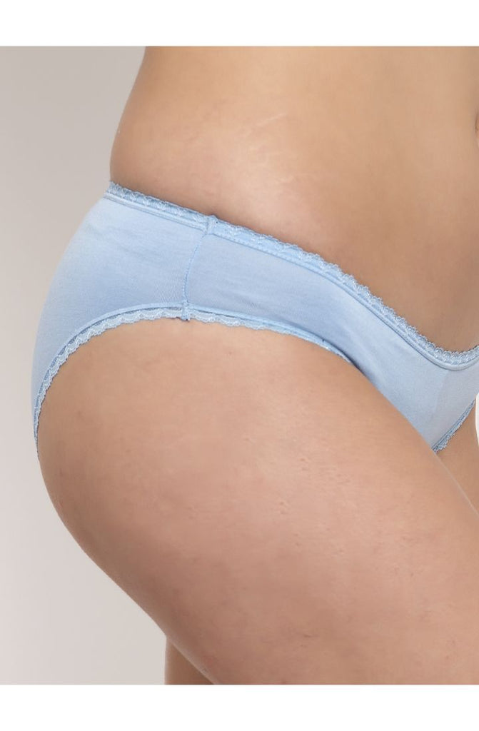 Shop at Prag & Co. Sky Blue Laced Bikini Modal Panty online