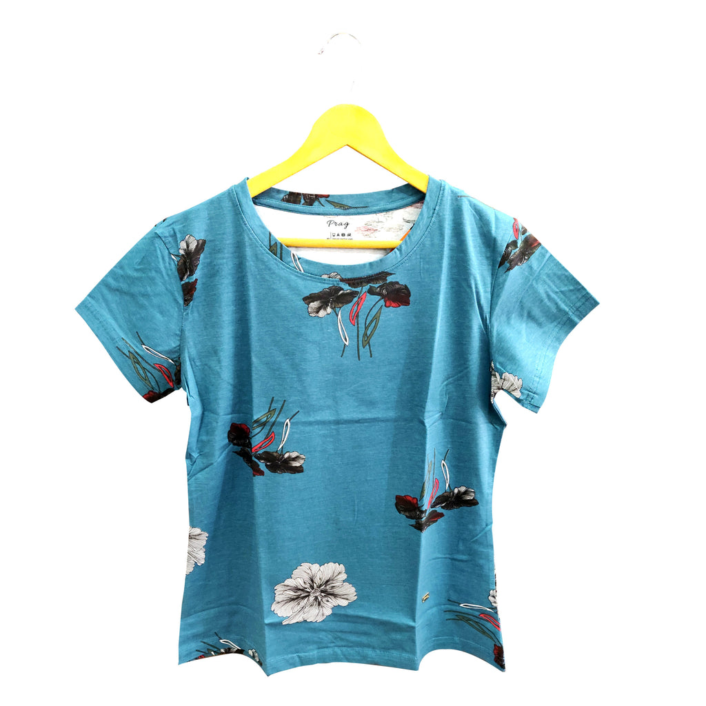 Organic Round neck Floral Print Cotton T-Shirt With Ocean Color