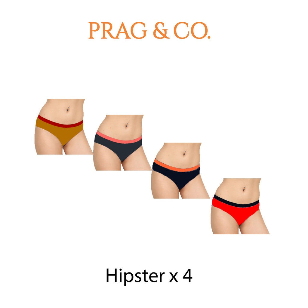 Hipster Brief 4 PC Pack Double Colors - Grey-Red - Gold-Navy