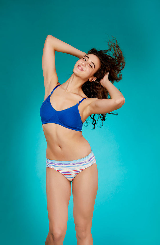 Front Side Moulded Cup T-Shirt Bra With Rama Blue Color