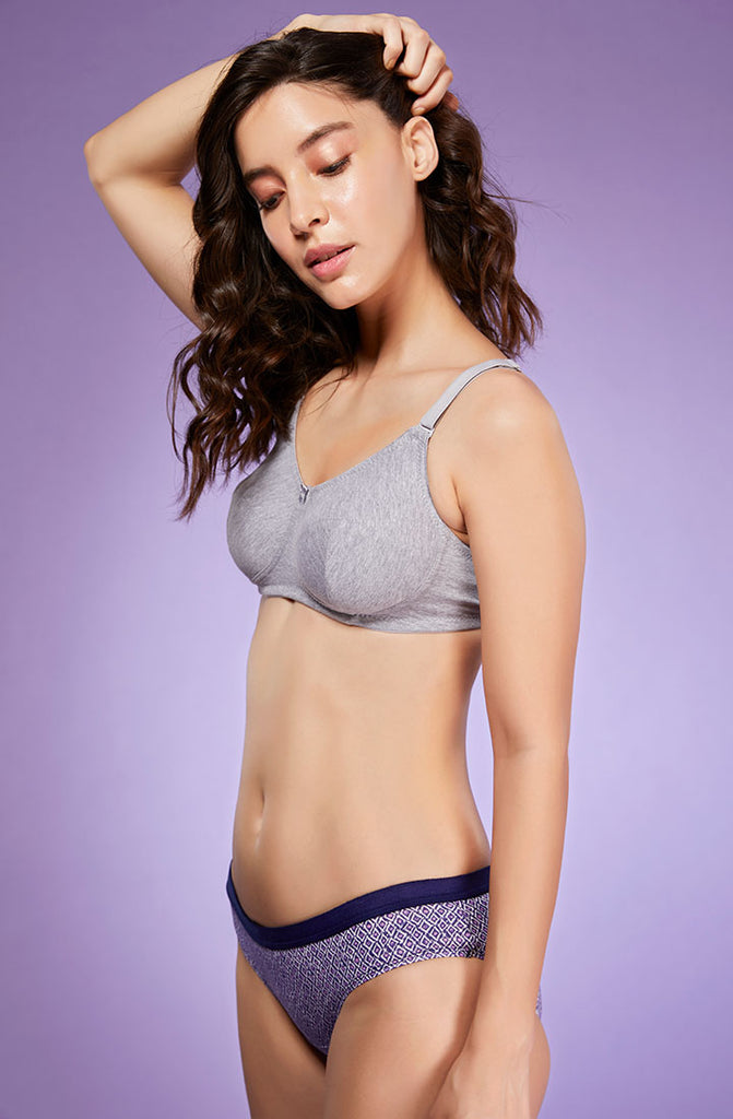 Left Side Navy Print Hipster Brief With Bra
