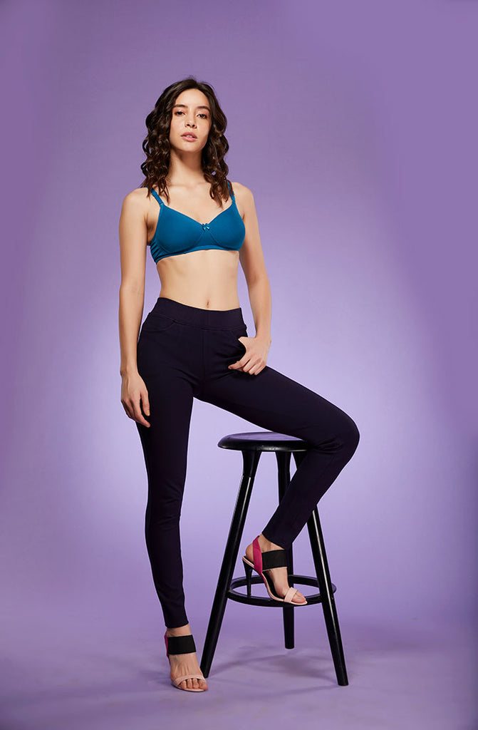 Narrow Fit Navy Trouser Super Pant For Ladies With Blue Bra