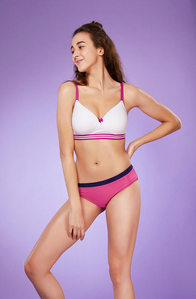 Front Side Fancy Contrast White Padded Bra With Pink Panty