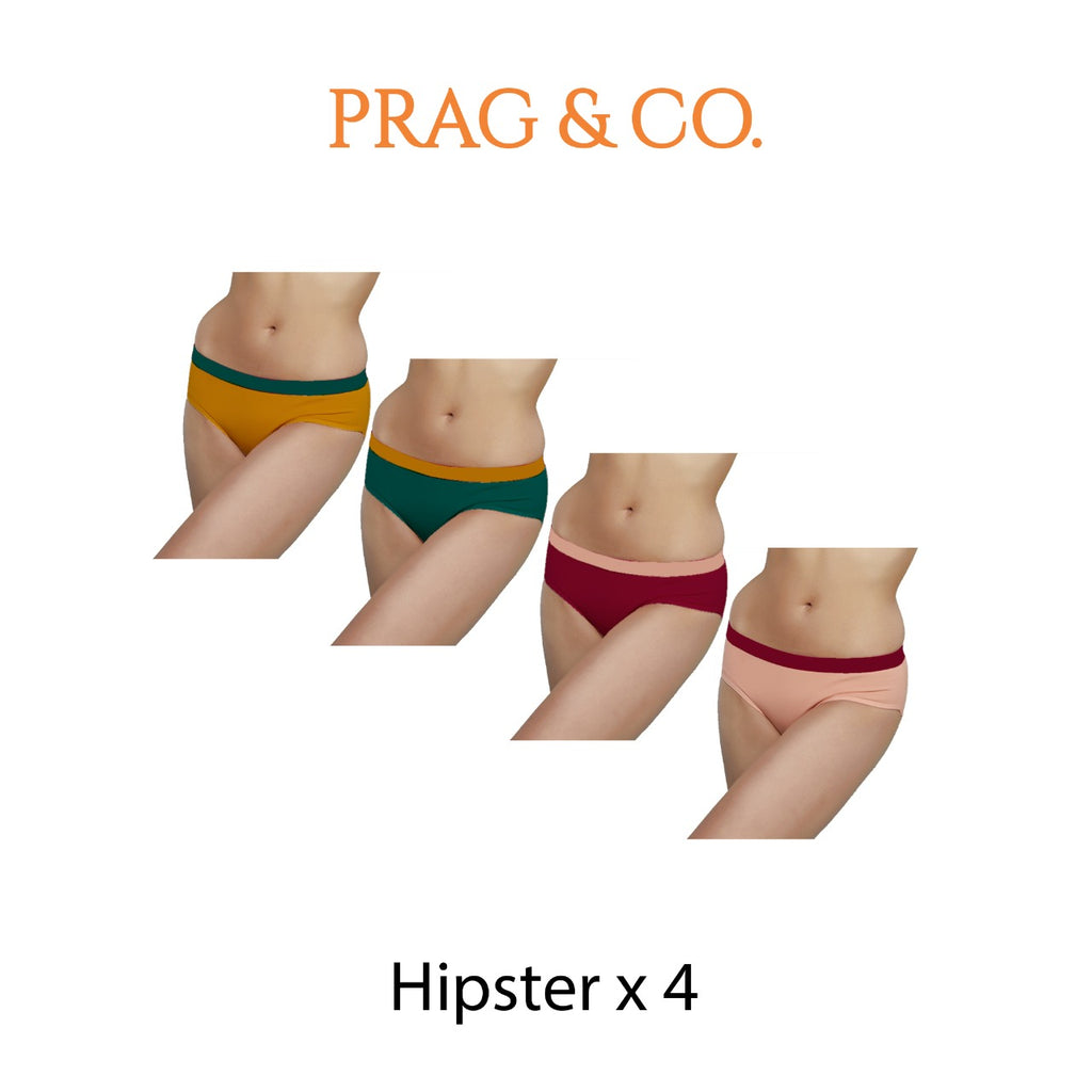 Hipster Brief 4 PC - Green-Yellow - Pink-Peach
