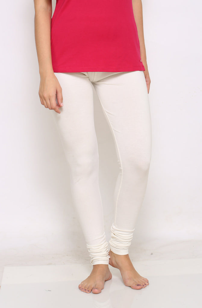 White chudidar leggings