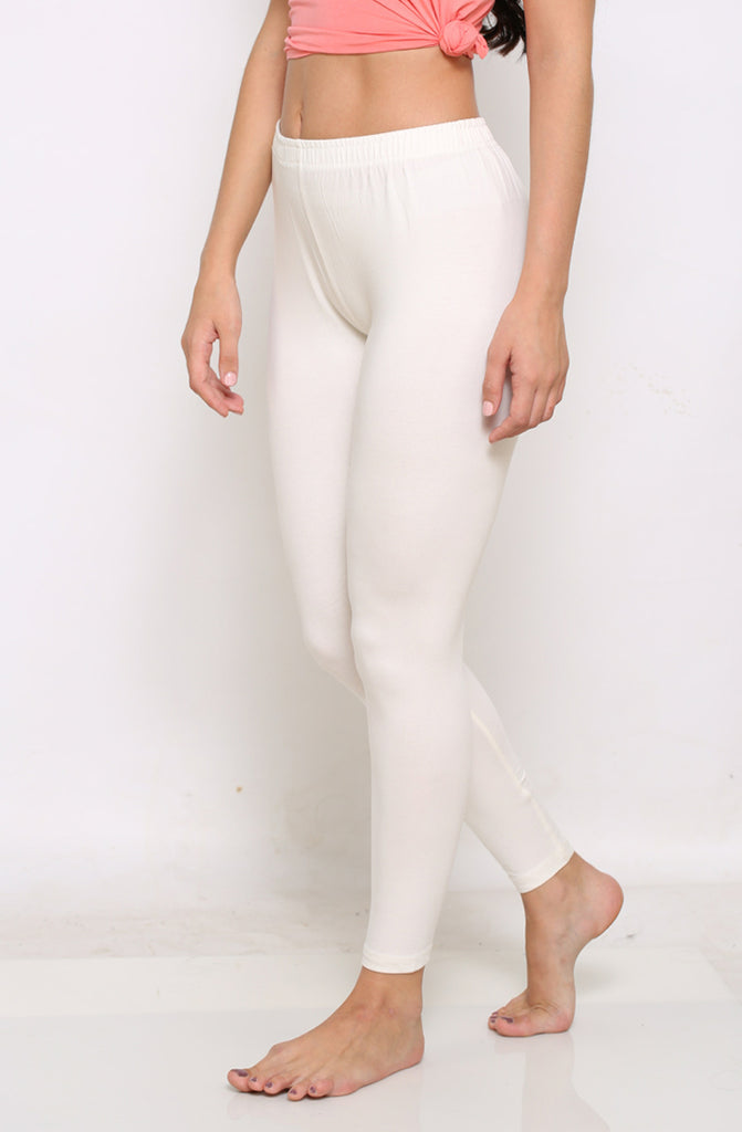 White ankle 4 way leggings