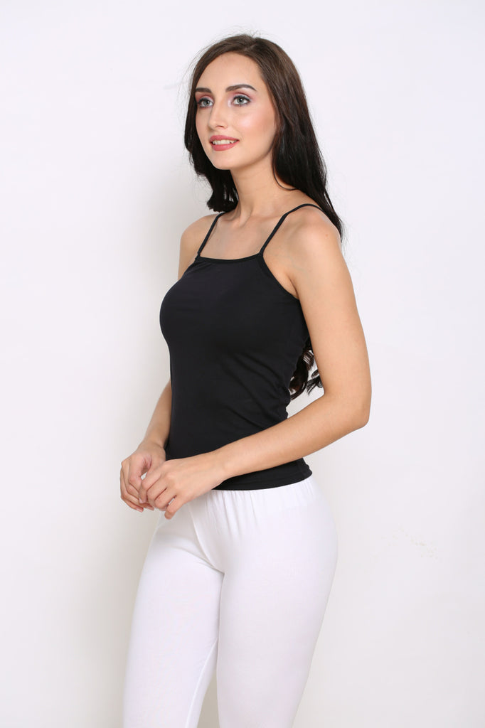 Left Side Black Camisole With White Leggings