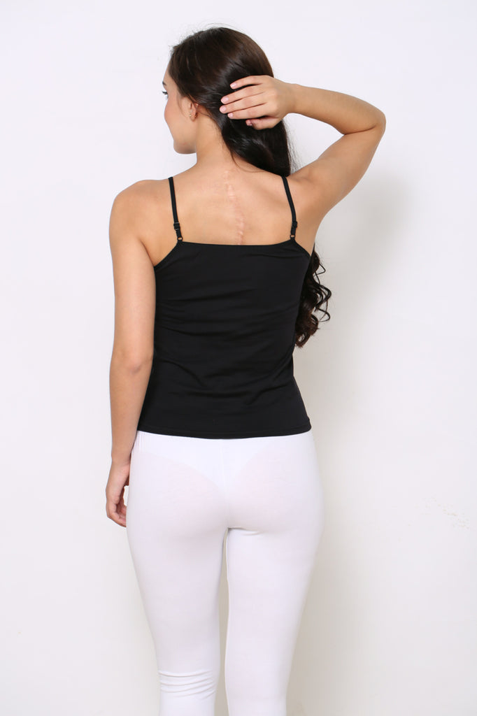 Back Side Black Camisole With White Leggings