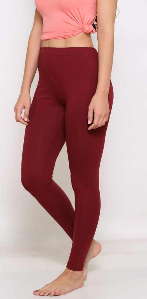 Maroon stretchable leggings