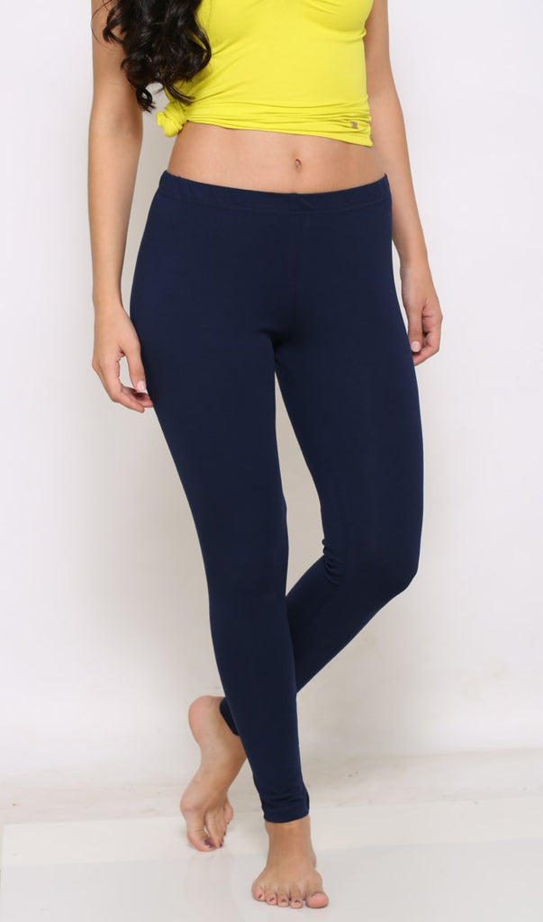 Navy ankle length leggings for ladies