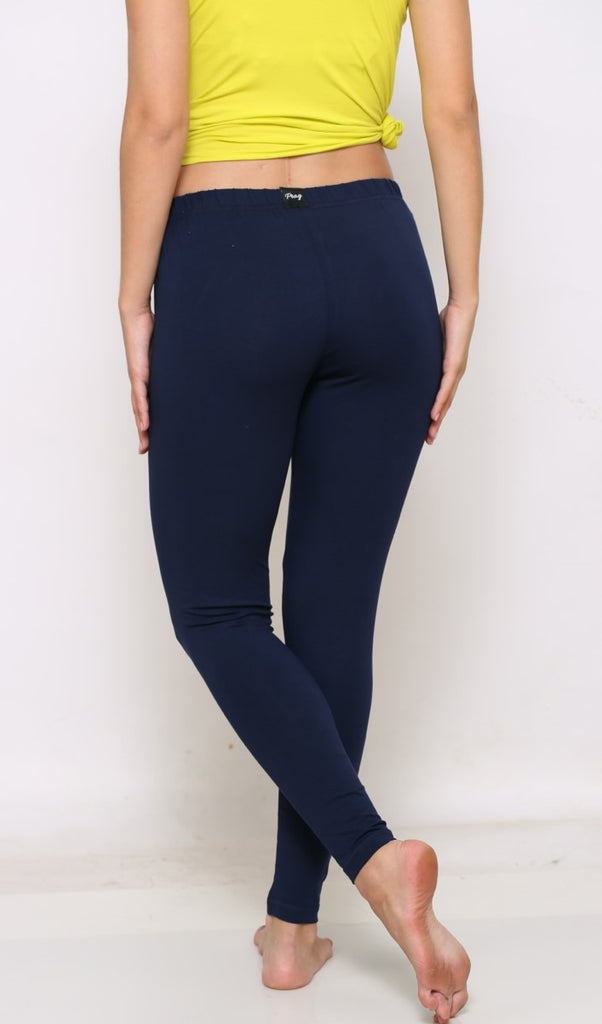 Navy ankle length leggings for women