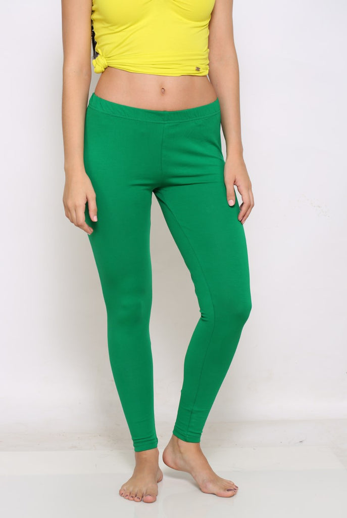 Green ankle four way stretch leggings