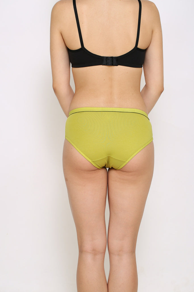 Back Side Lime Green Hipster Brief With Black Bra