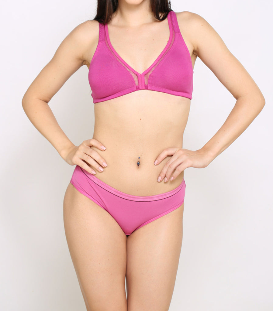 Front Side Pink Hipster Brief With Pink Bra