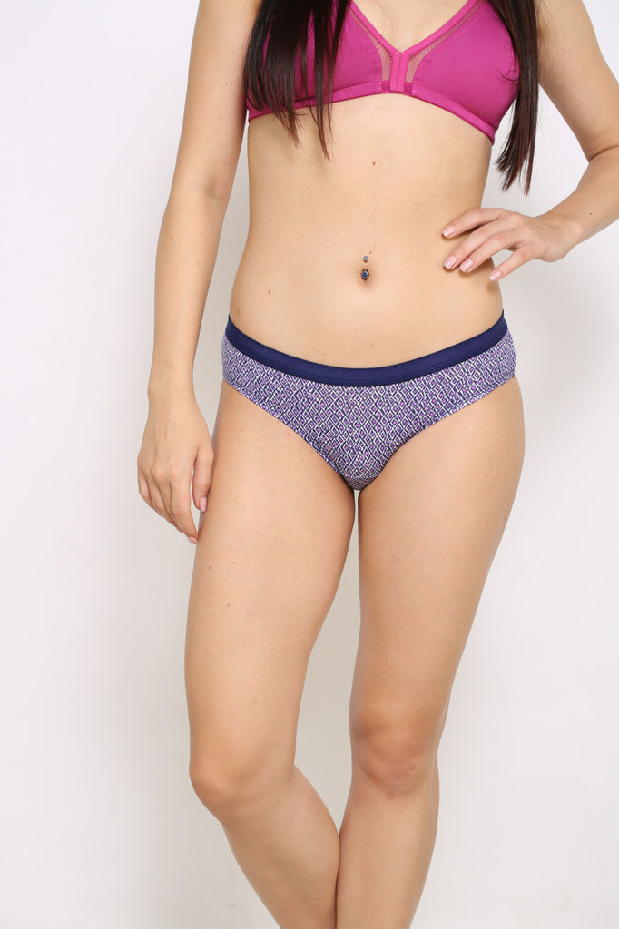 Front Side Hipster Brief With Navy Print Color