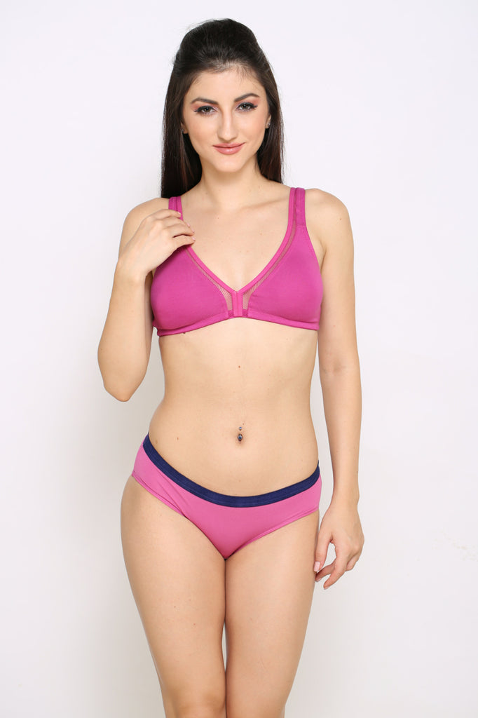 Front Side Sky Pink Hipster Brief With Pink Panty