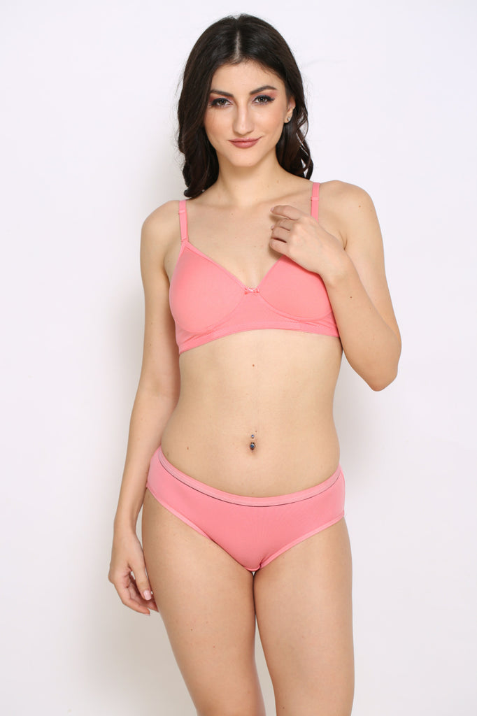 Front Side Royal Pink Hipster Brief With Royal Pink Bra