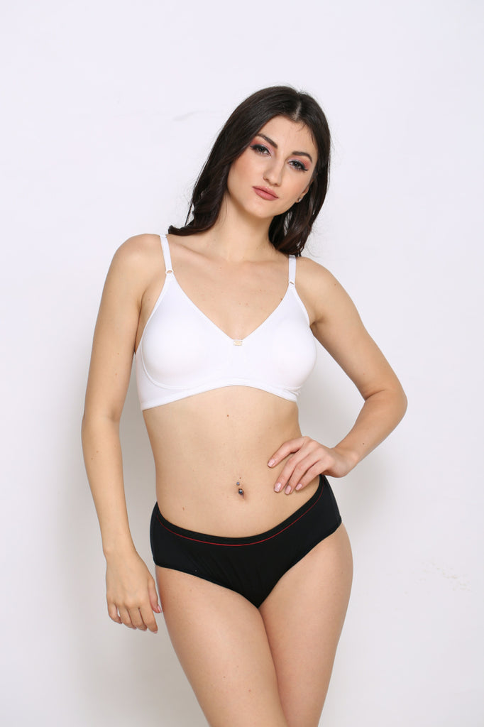 Front Side White Moulded Cup T-Shirt Bra With Black Panty