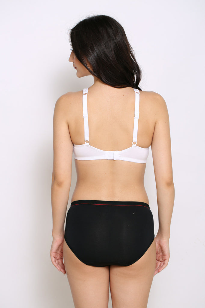 Back Side White Moulded Cup T-Shirt Bra With Black Panrty