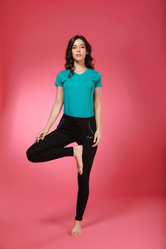 Front Side Black Cotton Stretch Pant For Ladies With Blue T-Shirt
