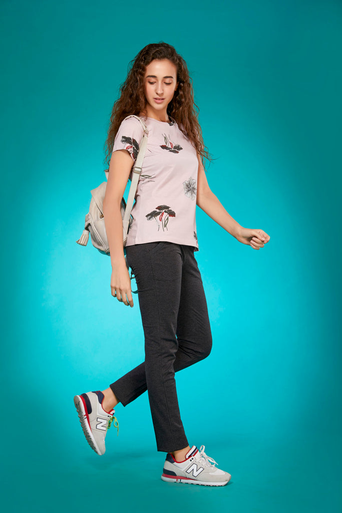 Right Side Dark Grey Cotton Tapered Fit Track Pant For Women With Cream T-Shirt