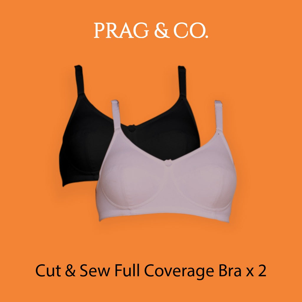 Cut & Sew Full Coverage Combo Bra With Black & Grey Color