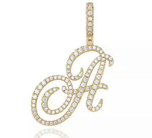Gold Cursive Initial Necklace
