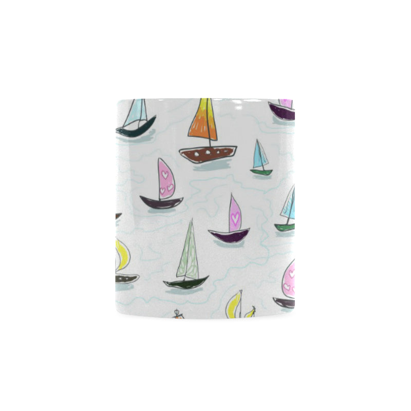 Cute Sailboat Pattern Classical White Mug (FulFilled In US)