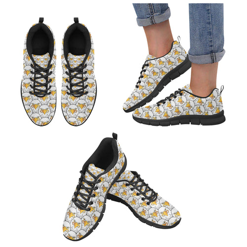 Eagle Pattern Print Design 05 Women's Sneakers Black