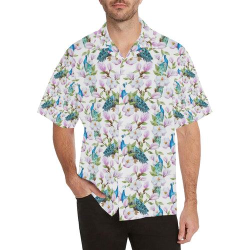 Peacock Pink Flower Pattern Men's All Over Print Hawaiian Shirt