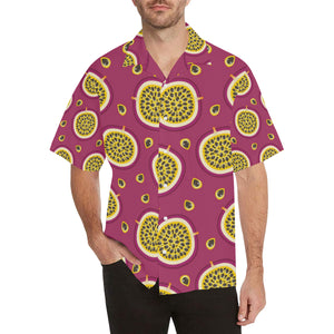 Sliced Passion Fruit Pattern Men's All Over Print Hawaiian Shirt
