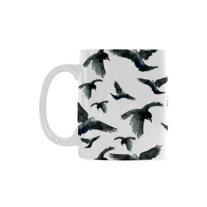 Crow Water Color Pattern Classical White Mug (FulFilled In US)