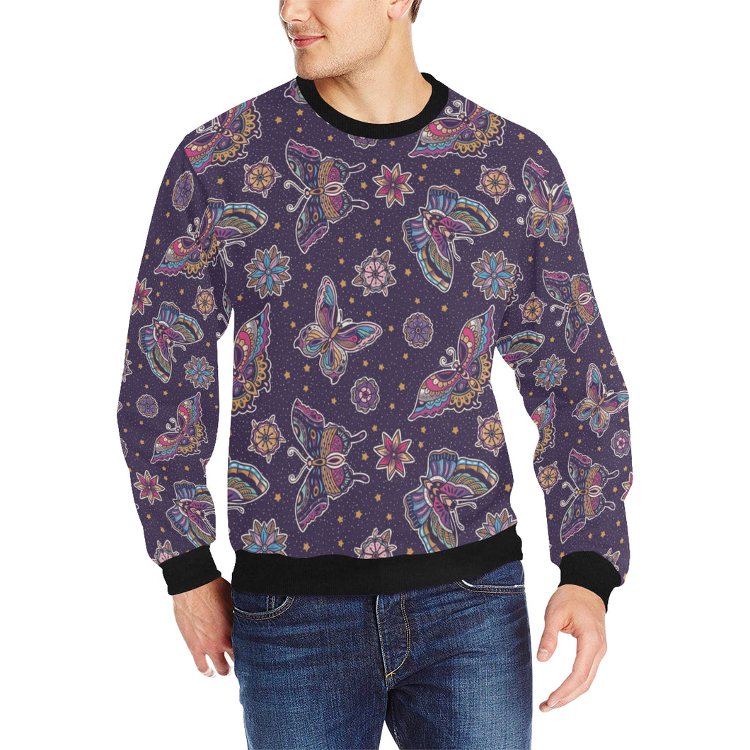 Butterfly Star Pokka Dot Pattern Men's Crew Neck Sweatshirt