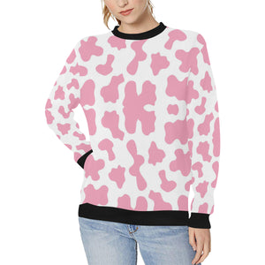 Pink Cow Skin Pattern Women's Crew Neck Sweatshirt