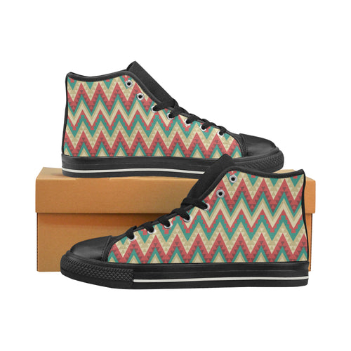 Zigzag Chevron Pattern Women's High Top Shoes Black Made In USA